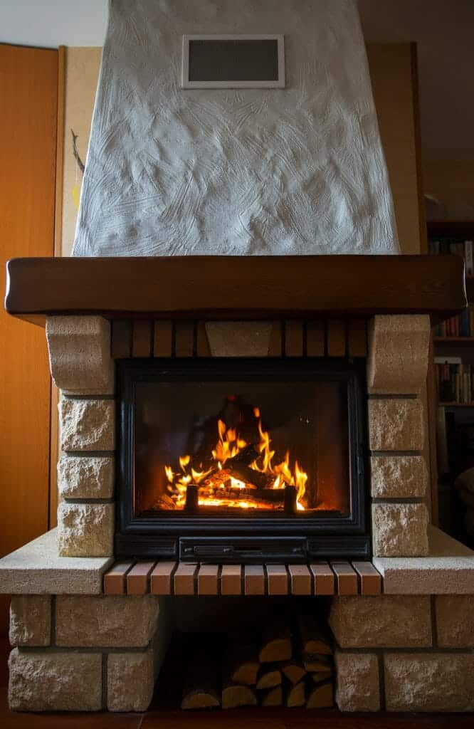 wood burning fireplace at home